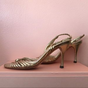 Gucci Gold Leather Stiletto Heels